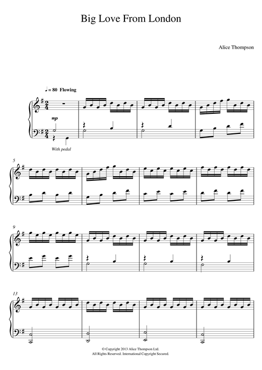 Alice Thompson Big Love From London sheet music notes and chords. Download Printable PDF.
