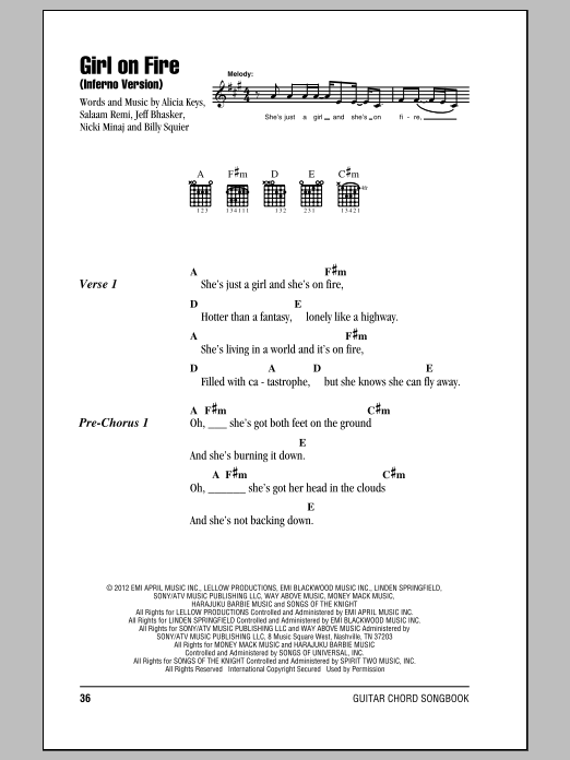 Alicia Keys Girl On Fire Inferno Version Sheet Music Notes