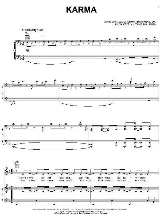 Alicia Keys Karma sheet music notes and chords. Download Printable PDF.
