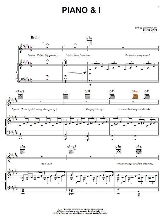 Alicia Keys Piano & I sheet music notes and chords