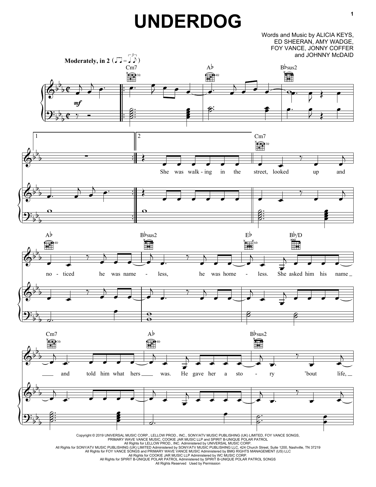 Alicia Keys Underdog sheet music notes and chords