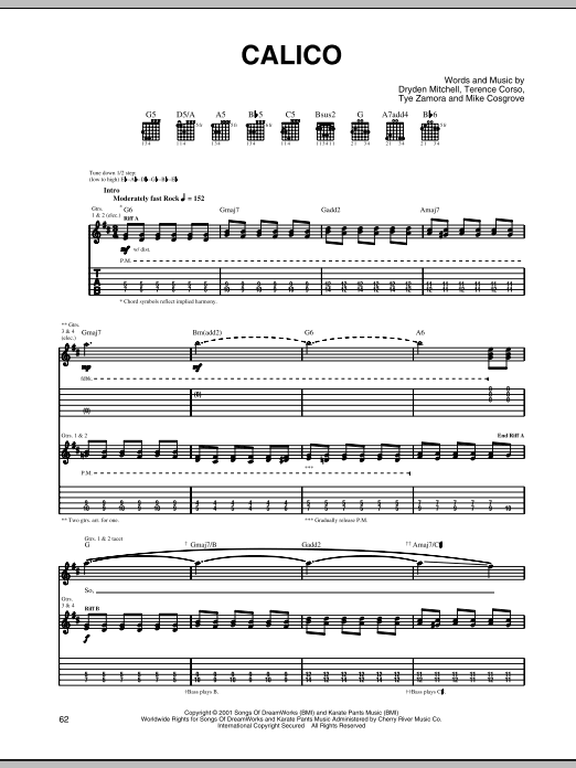 Alien Ant Farm Calico sheet music notes and chords. Download Printable PDF.