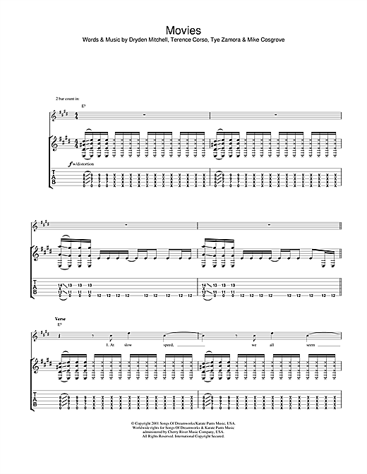 Alien Ant Farm Movies sheet music notes and chords. Download Printable PDF.