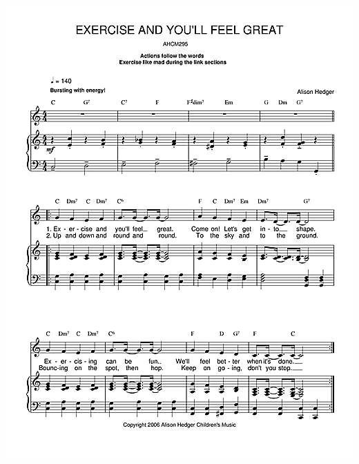 Alison Hedger Exercise And You'll Feel Great sheet music notes and chords. Download Printable PDF.