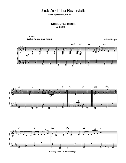 Alison Hedger Incidental Music (from Jack And The Beanstalk) sheet music notes and chords. Download Printable PDF.