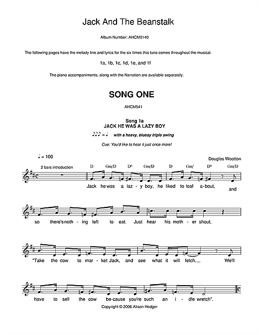 Alison Hedger Song 1 (from Jack And The Beanstalk) sheet music notes and chords