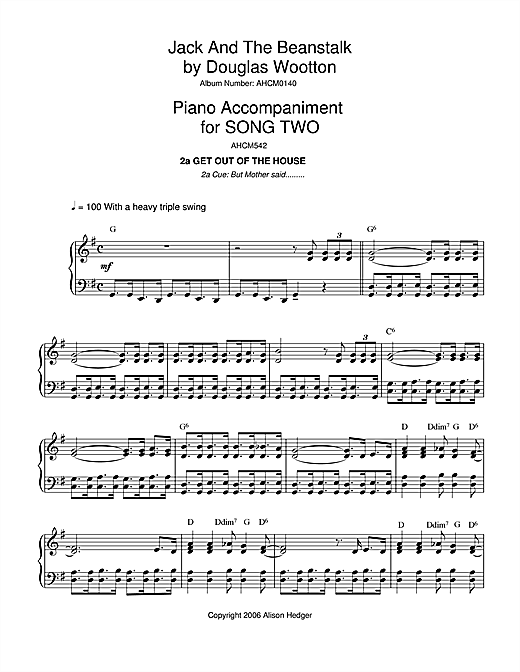 Alison Hedger Song 2 (from Jack And The Beanstalk) sheet music notes and chords