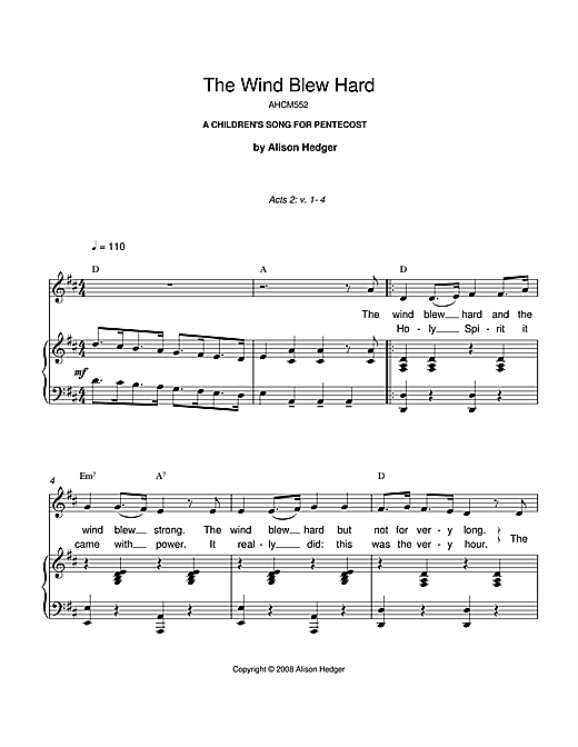Alison Hedger The Wind Blew Hard sheet music notes and chords