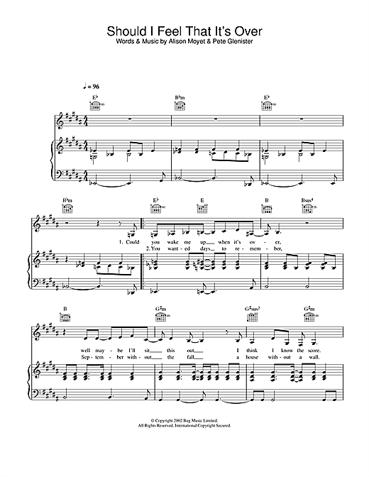 Alison Moyet Should I Feel That It's Over sheet music notes and chords