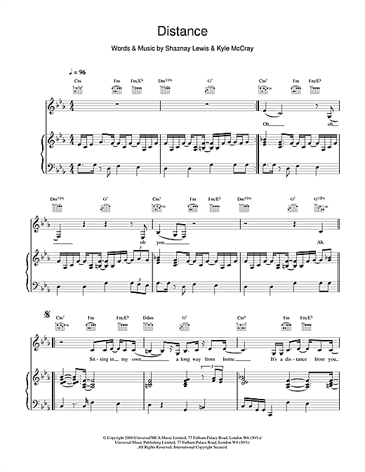 All Saints Distance sheet music notes and chords. Download Printable PDF.