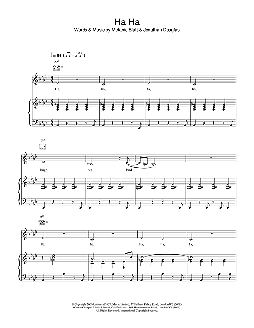All Saints Ha Ha sheet music notes and chords. Download Printable PDF.