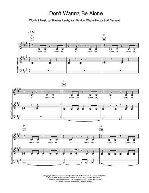 All Saints I Don't Wanna Be Alone sheet music notes and chords