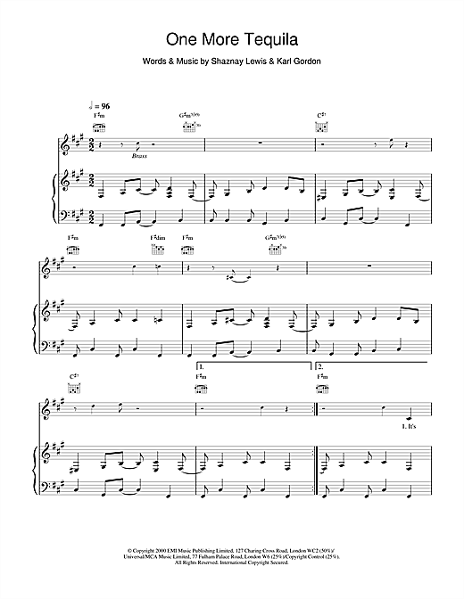 All Saints One More Tequila sheet music notes and chords
