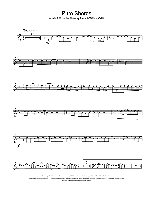 All Saints 'Pure Shores' Sheet Music Notes, Chords | Download Printable  Flute Solo - SKU: 107074