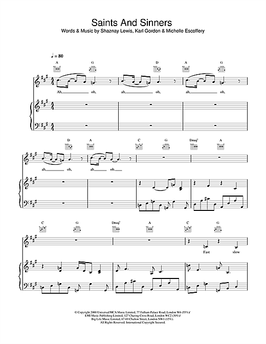 All Saints Saints And Sinners sheet music notes and chords. Download Printable PDF.