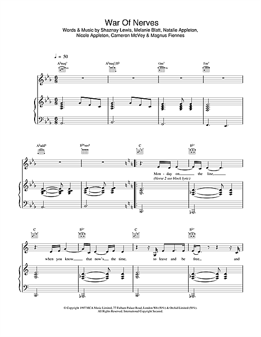 All Saints War Of Nerves sheet music notes and chords