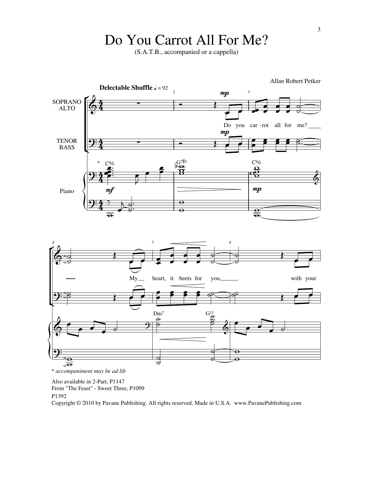 Allan Robert Petker Do You Carrot All For Me sheet music notes and chords. Download Printable PDF.