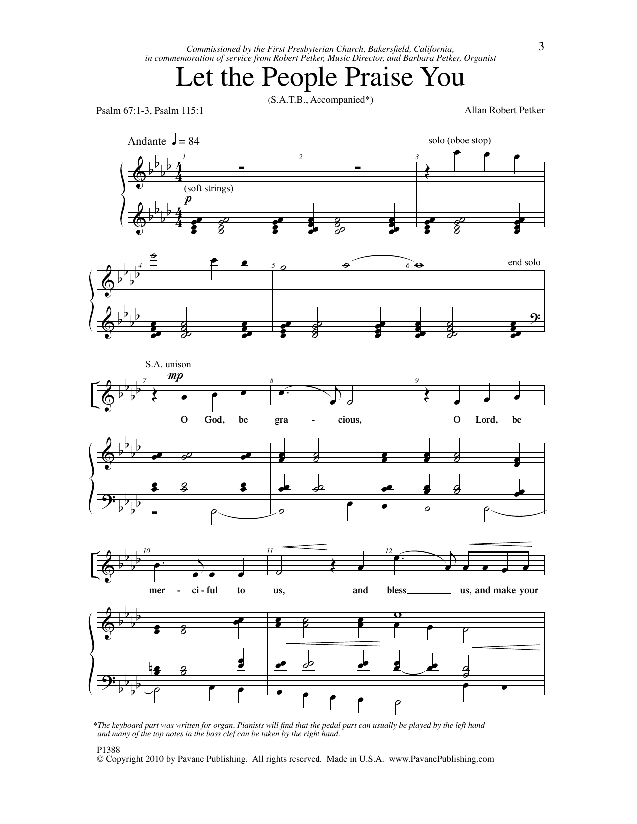 Allan Robert Petker Let The People Praise You sheet music notes and chords. Download Printable PDF.