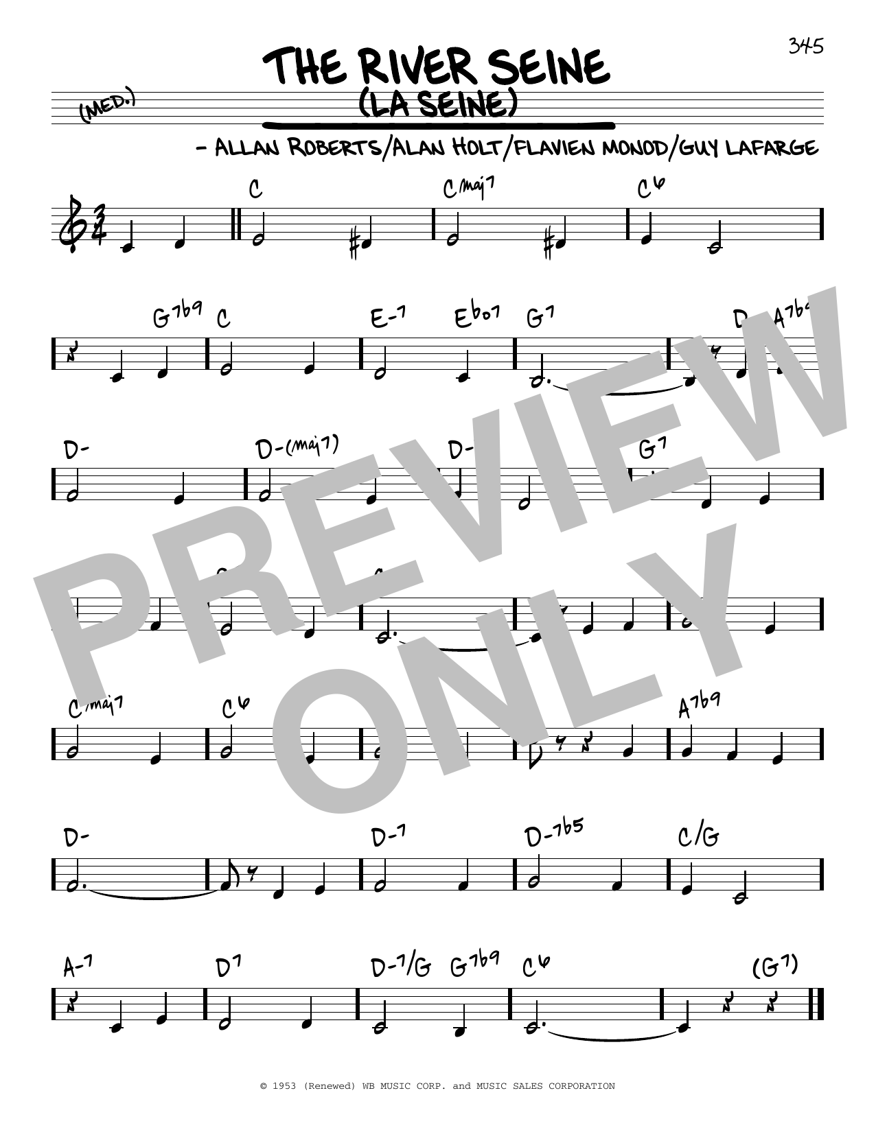 Allan Roberts The River Seine (La Seine) sheet music notes and chords. Download Printable PDF.