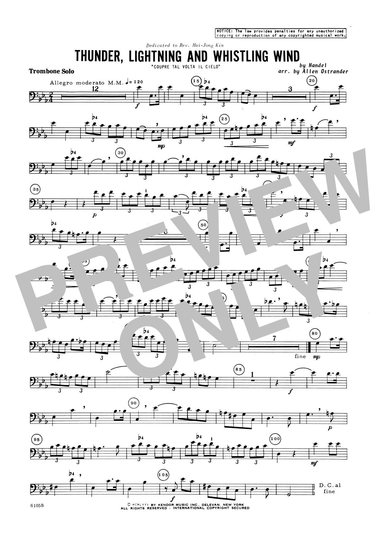 Allen Ostrander Thunder, Lightning And Whistling Wind (Coupre Tal Volta Il Cielo) - Trombone sheet music notes and chords. Download Printable PDF.