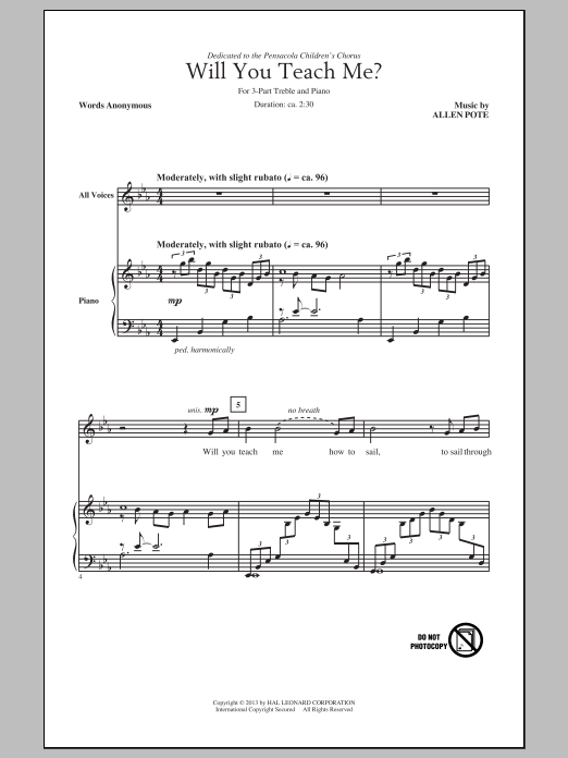 Allen Pote Will You Teach Me? sheet music notes and chords. Download Printable PDF.