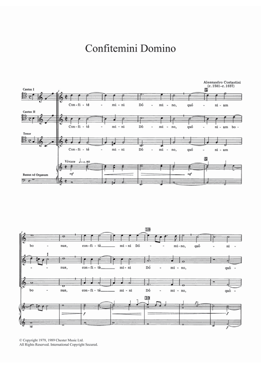 Allessandro Constantini Confitemini Domino sheet music notes and chords. Download Printable PDF.