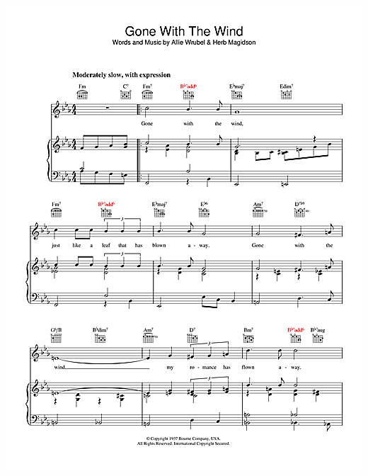 Allie Wrubel Gone With The Wind sheet music notes and chords. Download Printable PDF.