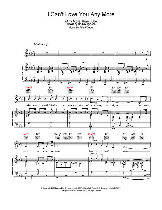 Allie Wrubel I Can't Love You Any More (Any More Than I Do) sheet music notes and chords