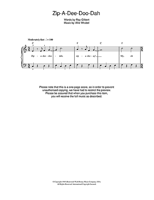 Allie Wrubel Zip-A-Dee-Doo-Dah (from Disney's Song Of The South) sheet music notes and chords