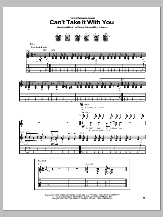 Allman Brothers Band Can't Take It With You sheet music notes and chords. Download Printable PDF.