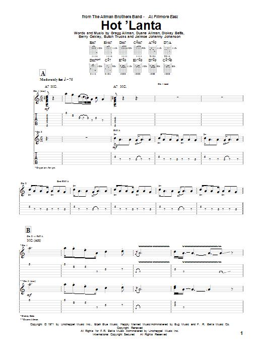 The Allman Brothers Band Hot 'Lanta sheet music notes and chords. Download Printable PDF.