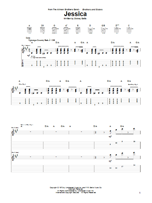 The Allman Brothers Band Jessica sheet music notes and chords. Download Printable PDF.