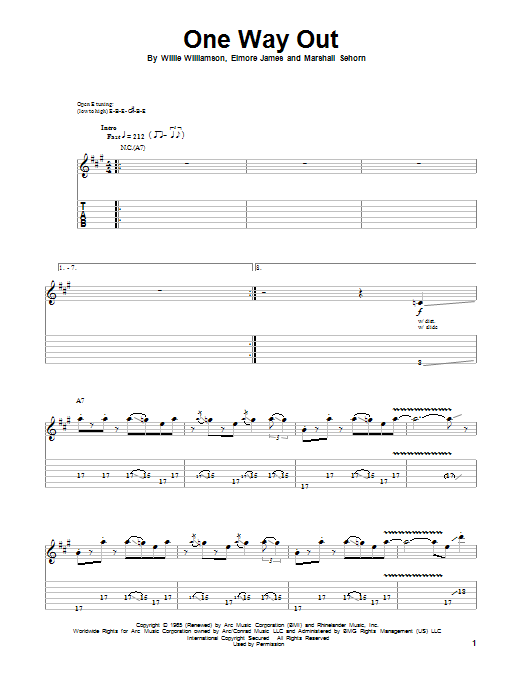 The Allman Brothers Band One Way Out sheet music notes and chords. Download Printable PDF.