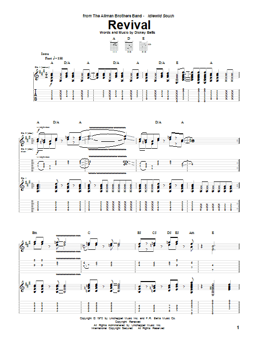 The Allman Brothers Band Revival sheet music notes and chords. Download Printable PDF.