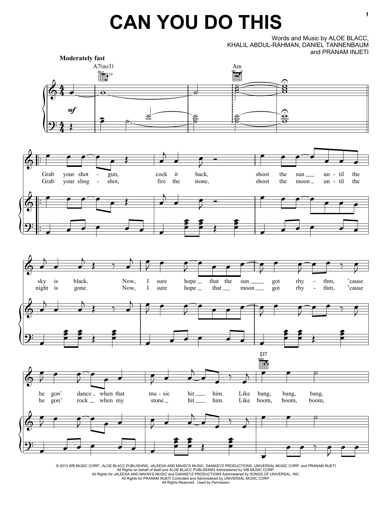 Aloe Blacc Can You Do This sheet music notes and chords. Download Printable PDF.