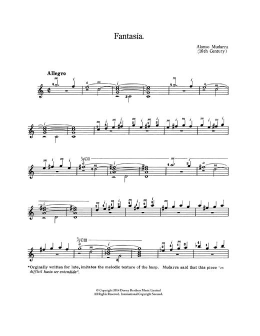 Alonso De Mudarra Fantasia sheet music notes and chords. Download Printable PDF.