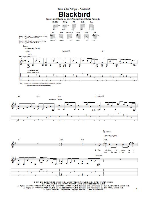Alter Bridge Blackbird sheet music notes and chords. Download Printable PDF.