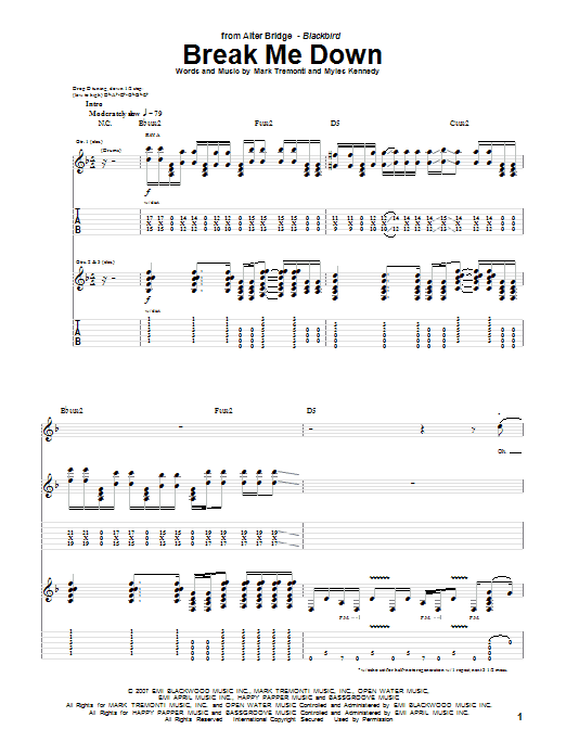 Alter Bridge Break Me Down sheet music notes and chords. Download Printable PDF.