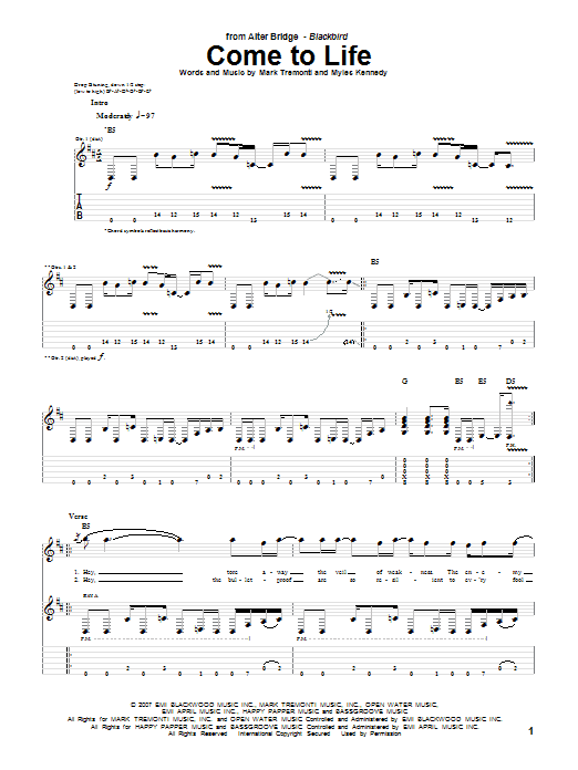 Alter Bridge Come To Life sheet music notes and chords. Download Printable PDF.