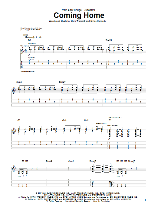 Alter Bridge Coming Home sheet music notes and chords. Download Printable PDF.