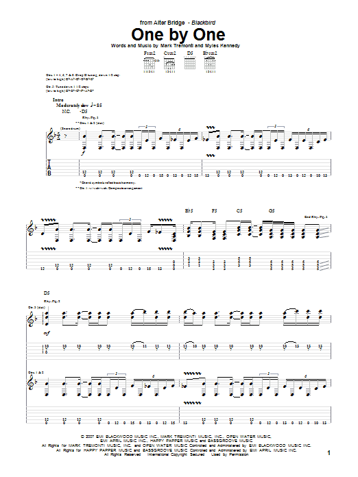 Alter Bridge One By One sheet music notes and chords. Download Printable PDF.