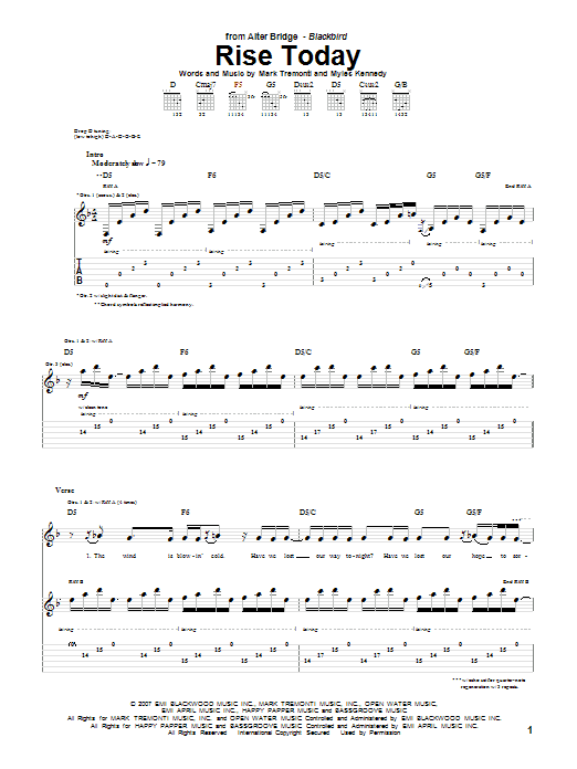 Alter Bridge Rise Today sheet music notes and chords. Download Printable PDF.