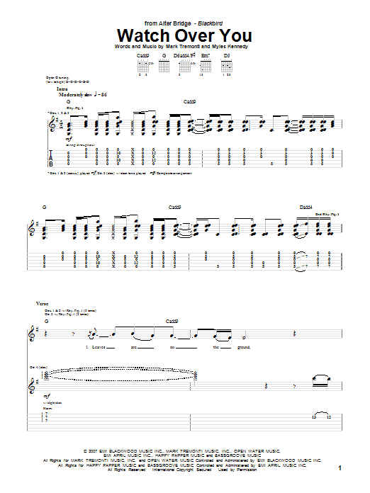 Alter Bridge Watch Over You sheet music notes and chords. Download Printable PDF.