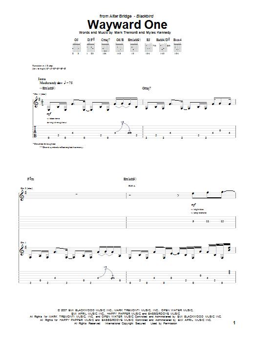 Alter Bridge Wayward One sheet music notes and chords. Download Printable PDF.