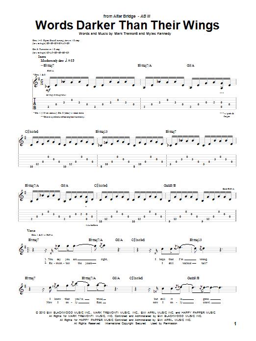 Alter Bridge 'Words Darker Than Their Wings' Sheet Music Notes, Chords |  Download Printable Guitar Tab - SKU: 83740