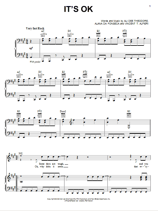 Alvin And The Chipmunks It's OK / It's Okay sheet music notes and chords. Download Printable PDF.