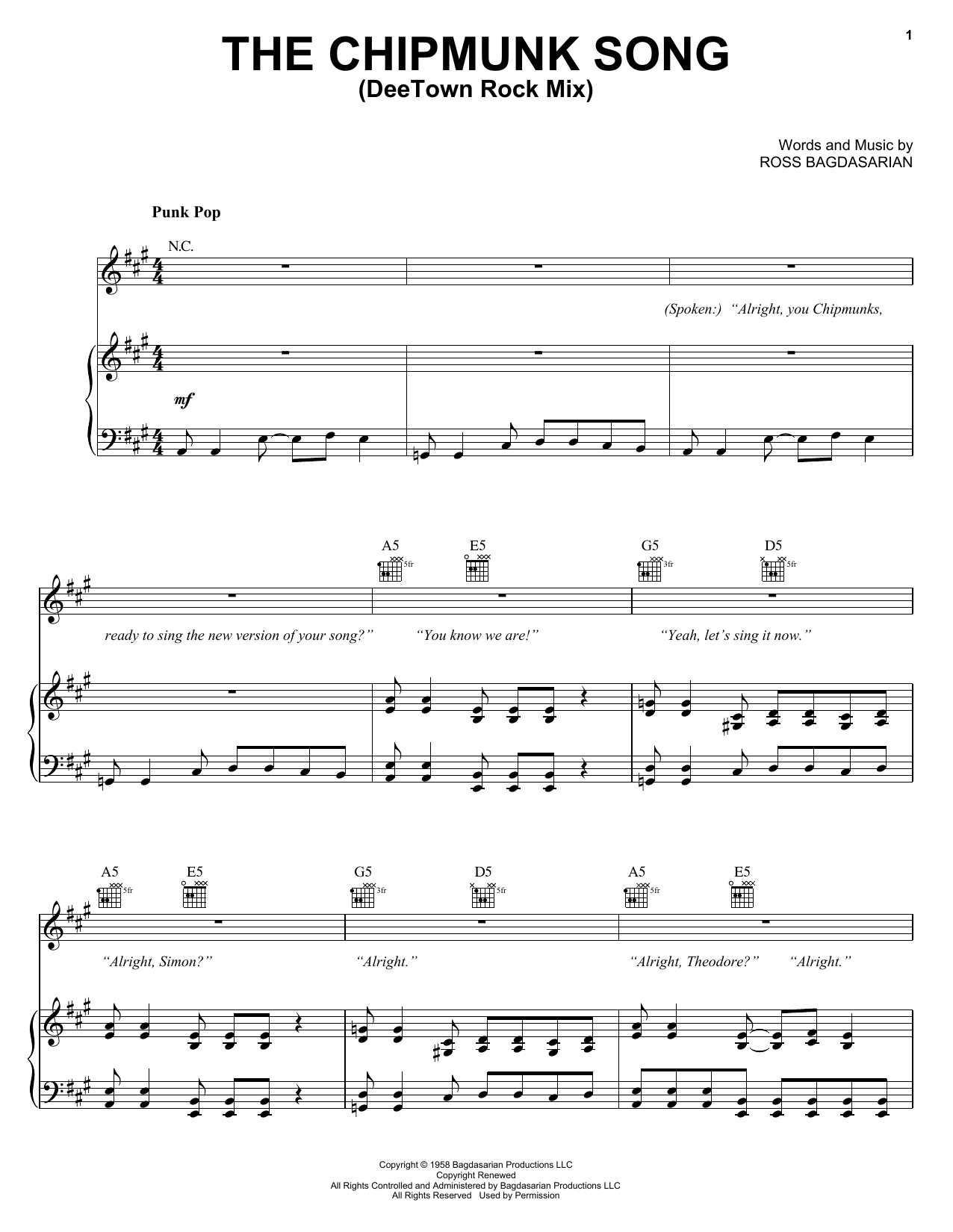 Alvin And The Chipmunks The Chipmunk Song (DeeTown Rock Mix) sheet music notes and chords. Download Printable PDF.
