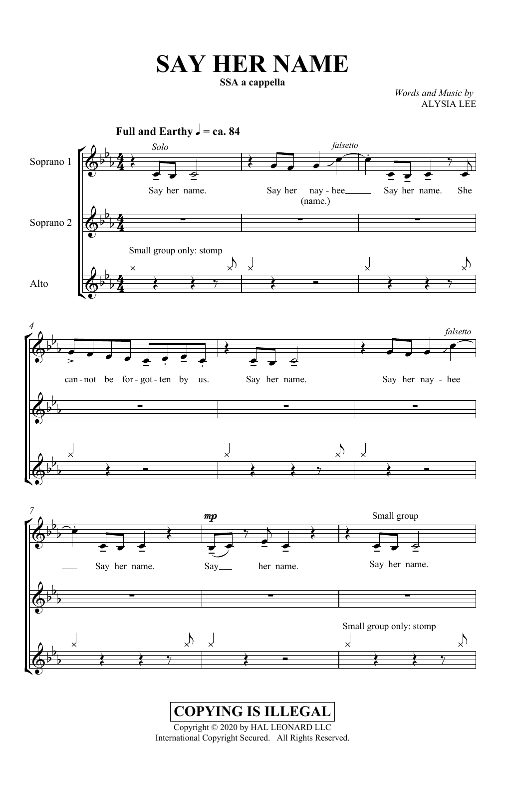 Alysia Lee Say Her Name sheet music notes and chords. Download Printable PDF.