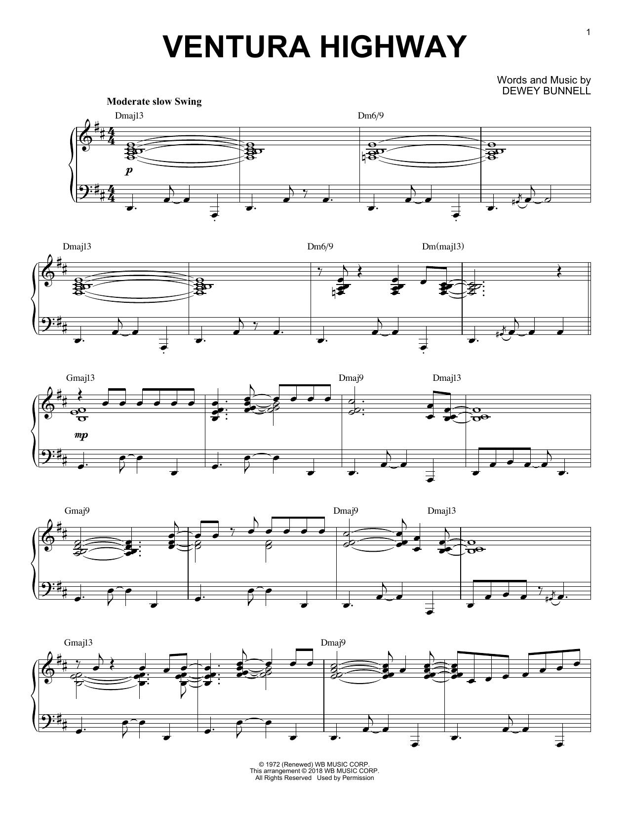 America Ventura Highway [Jazz version] sheet music notes and chords