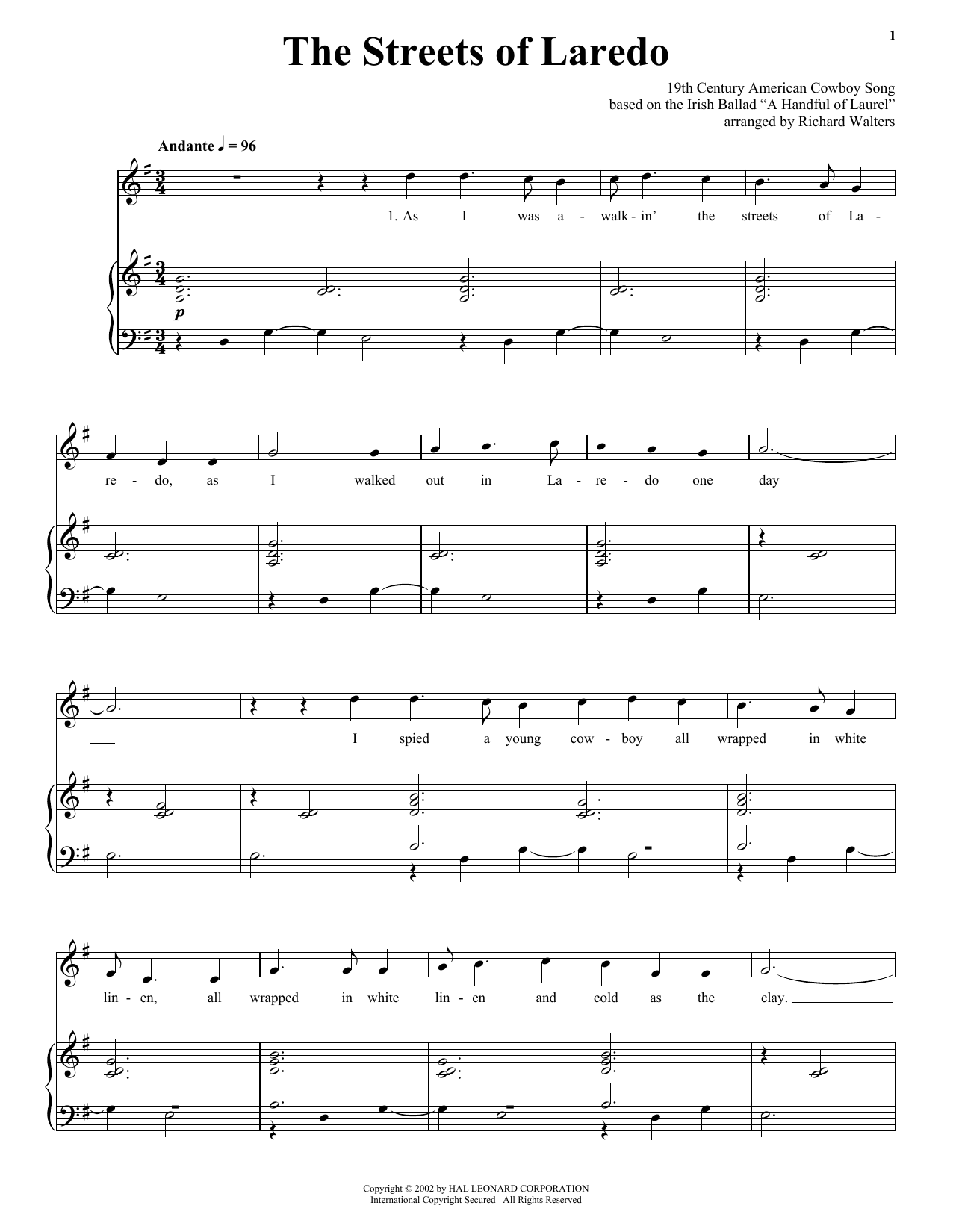 American Cowboy Song The Streets Of Laredo sheet music notes and chords. Download Printable PDF.